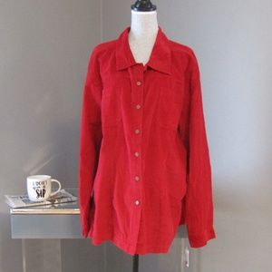 NEW Dressbarn Woman Red Corduroy Shirt 3X